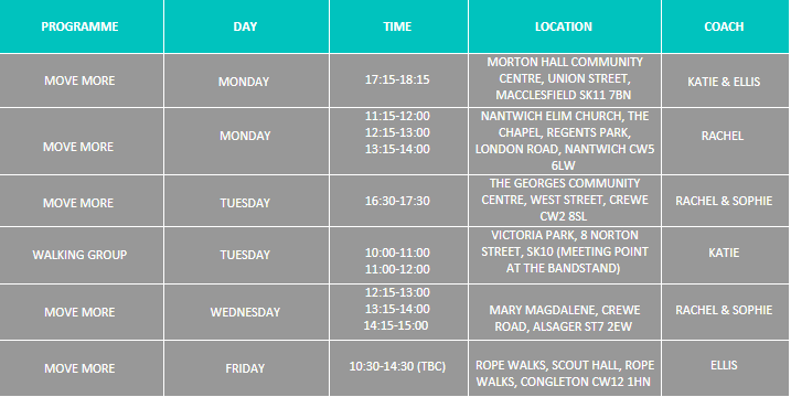 exercise class timetable