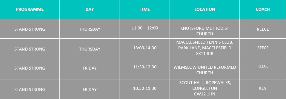 Stand Strong Programme Timetable